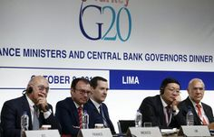(L-R) French Finance Minister Michel Sapin, Mexico's Finance Minister Luis Videgaray, Britain's Chancellor of the Exchequer George Osborne, China's Finance Minister Lou Jiwei and Organisation for Economic Co-operation and Development (OECD) Secretary-General Angel Gurria attend a Finance Ministers and Central Bank Governors of the G20 group news conference at the 2015 IMF/World Bank Annual Meetings in Lima, Peru, October 9, 2015.   REUTERS/Mariana Bazo