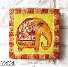 Indian Elephant Original Acrylic Painting by ArtClock on Etsy, $30.00
