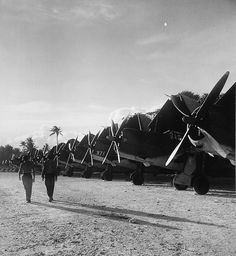 Curtiss SB2C Helldiver's on  Falalop Island, Ulithi atoll in the  region December 1944.