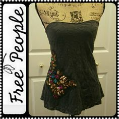Free  People Strapless Top Another Rare Find of a Free People Trendy Top, Lovely Lacey Details in Gorgeous Multicolor Sequins on Right Side, Mint Condition! Free People Tops
