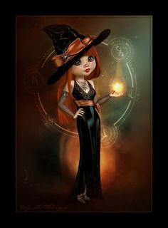 LittleDesign: Trixie Halloween Kunst, Halloween Artwork, Halloween Doll, Halloween Pictures, Holidays Halloween, Halloween Crafts, Fantasy Witch, Gothic Fantasy Art, Witch Art