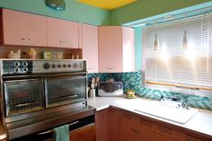 This person did a GREAT job re-creating a vintage kitchen. The color saturation of the yellow used on the ceiling needs dialed down though; it gives the room a sort of 'unreal' vintage look instead of an authentic one. Overall they get a full 10!