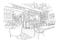 Sketches of USSR-style cafe by  MIO   Made In Odessa , via Behance