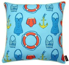 Completely for fun - we love this new Sailor Swim indoor-outdoor 18 x 18 pillow created with vintage-like swim suits, cruise life rings and gold anchors! Patio Cushions, Outdoor Throw Pillows, Indoor Outdoor Rugs, Outdoor Fabric, Nautical Pillows, Patio Bench, Light Blue Background, Blue Backgrounds, Sailor