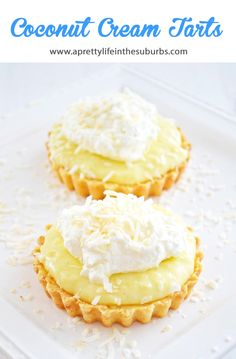 These Coconut Cream Tarts with a Shortbread Cookie Crust are simple to make, and are SO delicious! This recipe makes 6 - 3 inch tarts, or 1 -10 inch tart. Coconut Tart, Coconut Cream, Coconut Cheesecake, Cheesecake Tarts, Shortbread Cookie Crust, Tart Recipes, Sweet Recipes, No Bake Cake, Pie Cake