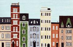 Boston Back Bay Massachusetts New England Brownstones by annasee Building Illustration, Illustration Art, Illustrations, Brownstone Homes, Living In Boston, Newbury Street, Colorful Frames, Dear Lillie, Bright Art