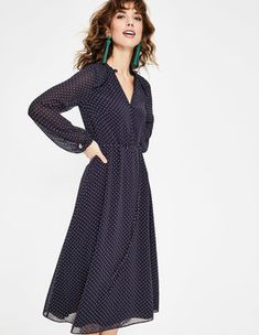 Clara Flocked Midi Dress Midi Dresses at Boden Lovely Dresses, Modest Dresses, Trendy Dresses, Modest Outfits, Casual Dresses, Midi Dresses, Knit Dress, Dress Up, Navy Midi Dress