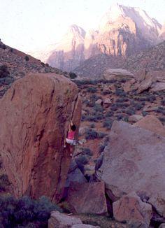 Bob Horan bouldering in Zion.