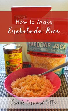 Enchilada rice is a very simple, microwave-friendly recipe that I created by throwing random things into my rice one day. If you use instant rice, you can whip