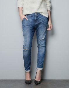 VELOUR PEG-LEG TROUSERS - Jeans - TRF - ZARA 50 euro