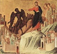 Duccio di Buoninsegna,Maestà,Temptation on the Mount,Frick Collection,New York.