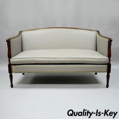 cool Old Hickory Tannery Gray Leather Sheraton Federal Loveseat Settee Sofa Mahogany Check more at https://aeoffers.com/product/arts-and-crafts-collectibles-handmade-online/old-hickory-tannery-gray-leather-sheraton-federal-loveseat-settee-sofa-mahogany/