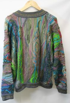 Back view of Genuine COOGI Australia V Neck Knitted Jumper 1990's
