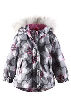 Superb high tech, waterproof and breathable winter coat for little girls, with a sweet flower motif and synthetic fur trim Fur Trim, Winter Coat, Canada Goose Jackets, Baby Car Seats, Little Girls, Winter Jackets, Hats, Fashion, Winter Coats