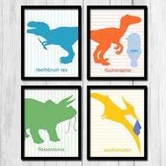 Dinosaur Bathroom Wall Decor Digital Download by TheNerdyFamily