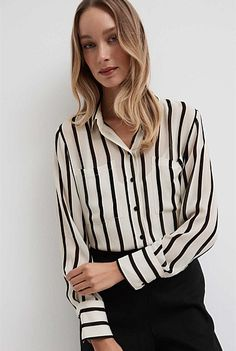 Sheer Stripe Shirt | New In Pocket Detail, Shirt Style, Collars, Camisole, Black And White, Long Sleeve, Shirts, Tops, Autumn