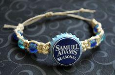 Sam Adams Beer Recycled Bottle Cap Hemp Bracelet, Men's bracelet, unique jewelry, beer cap bracelet, hemp jewelry