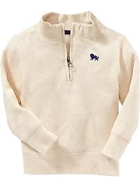 Textured-Rib Half-Zip Pullovers for Baby