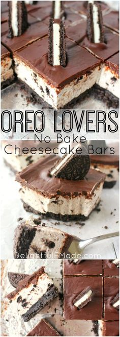 The ultimate dessert for anyone that loves OREO cookies! A thick OREO crust, creamy OREO no-bake cheesecake filling, and topped with a delicious layer of chocolate. This easy, no-bake dessert is perfect for just about any occasion!