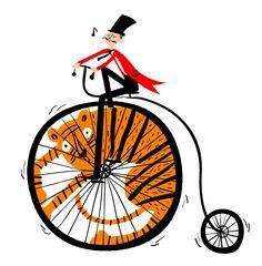 Illustration by Joanne Liu Tiger Illustration, Graphic Illustration, Graphic Art, Circus Poster, Circus Art, Circus Theme, Book Art, Bicycle Art, Art Design