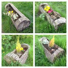 Country Rustic Flower Log Pot