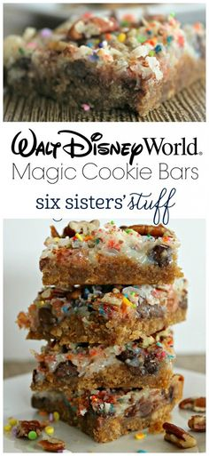 Disney World's Magic Cookie Bar I have made magic cookie bars before, but this recipe is my new favorite! The crust is a little thicker, the pecans give it the perfect amount of flavor, and the sprinkles-well it is Disney. Did you expect anything else? Disney Desserts, Just Desserts, Delicious Desserts, Yummy Food, Disney Recipes, Disney Dishes, Disney Drinks, Yummy Yummy, Vegan Desserts