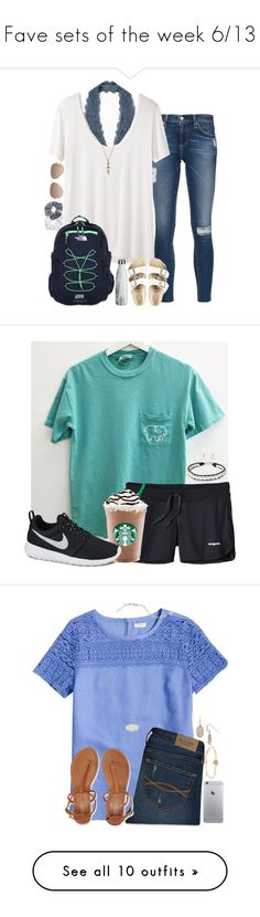 """""""Fave sets of the week 6/13"""" by penguinfan911 ❤ liked on Polyvore featuring AG Adriano Goldschmied, Free People, The Row, The North Face, Birkenstock, Natasha Couture, Topshop, Ray-Ban, Isabel Marant and Patagonia"""
