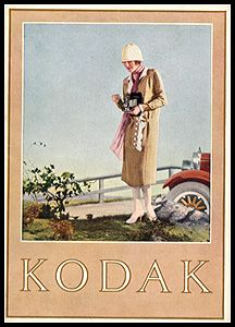 """1923 Kodak Catalog. From 1908 through the 1920s catalogs prominently featured a woman with a camera. 5 x 7"""", 64 pages."""