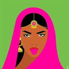 Fatemah Baig is an artist from Pakistan who celebrates the beauty of diversity and women in her wonderful artworks. Art And Illustration, Graphic Design Illustration, Indian Folk Art, Brown Art, Hippie Art, Indian Paintings, Doodle Art, Female Art, Art Drawings