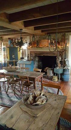 Super Genius Useful Ideas: Rustic Cafe Furniture rustic wallpaper log cabins.Rustic Photography How To rustic colors islands. Primitive Fireplace, Primitive Dining Rooms, Primitive Homes, Primitive Decor, Primitive Country, Country Decor, Rustic Decor, Rustic Theme, Rustic Signs