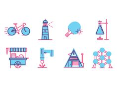 Here's another set of icons in the same style, but for another project (which unfortunately didn't go through).