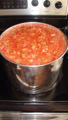 Homemade Salsa for Canning. Makes 20+ pints. It's yummy!  I used 8 whole (not seeded) jalapenos and it's mild+. Will try 12 next time, hoping for medium. I used only 1 T sugar.