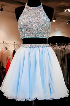 Two Pieces Baby Blue Homecoming Dress,Prom Dress,Graduation Dress,Party Dress,Short Homecoming Dress,Short Prom Dress,Homecoming Dress 2016