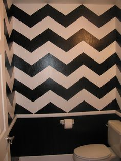 Chevron print painted bathroom!