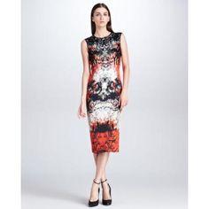 Women's Printed Midi Sheath Dress, Mona Lisa Red - Roberto Cavalli