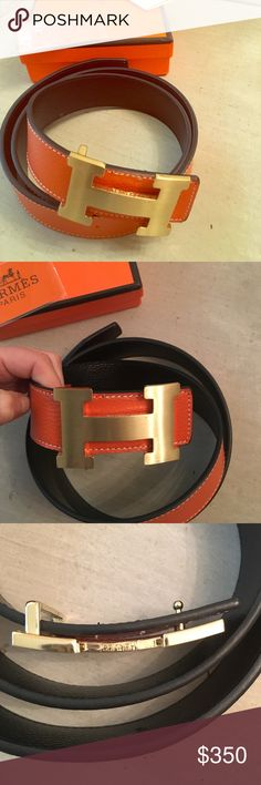"HERMES style reversible belt Hermes style reversible belt | orange and black | gold H | purchased from portero years ago and is Too big. Never been worn and comes with everything that was sent to me. I purchased for $400 and honestly don't think it is authentic. It will fit up to a 38"" waist. Hermes Accessories Belts"