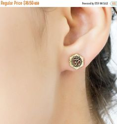 OM lotus stud earrings. tribal earrings. flower by Umanativedesign