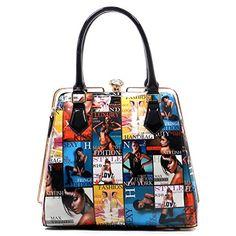cool Magazine Cover Collage Sliding Zipper Satchel Handbag (Multi (005))