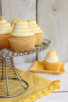 Honey Cupcakes with Honey Cream Cheese Frosting! A double pop of honey in both the cake and frosting to make you smile!