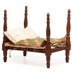"""Curly maple with mattress pillow and bed quilt, early 19th c.; 15"""" x 11"""" x 16"""", Rago Arts and Auction Center, Live Auctioneers Doll Beds, Doll Quilt, Small Quilts, Quilt Bedding, Antique Toys, Old Toys, Cribs, Mattress, Curly"""