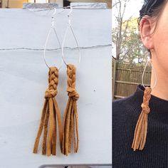 Leather earrings/long leather earrings/leather tassel earrings/braided leather earrings/cowgirl earrings/boho jewelry/statement earrings - new season bijouterie Fringe Earrings, Feather Earrings, Diy Earrings, Statement Earrings, Gold Earrings, Tassel Necklace, Gold Bracelets, Leather Jewelry, Boho Jewelry