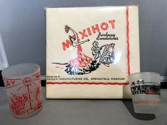 """Set of Mexihot BBQ napkins, plus """"Say When"""" + Hackberry General Store shot glasses"""