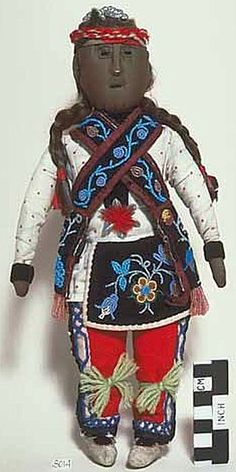 Ojibwe male embroidered cloth doll - Created: not later than 1940