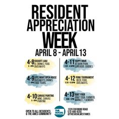 It's Resident Appreciation Week & we have fun-filled events every day of the week to celebrate! We can't wait to see you all there. Make sure to tag us in your posts using hashtags & to be featured. Note that all event Event Marketing, Sales And Marketing, Marketing Plan, Business Marketing, Content Marketing, Internet Marketing, Digital Marketing, Dementia Activities, Senior Activities