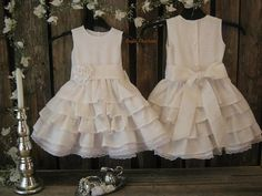 White linen flower girl dress country rustic wedding by englaCharlottaShop, €52.00 #whiteflowergirldress #countryrusticwedding #girlslinendress