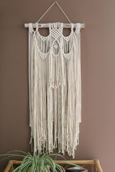 Macrame Wall Hanging in off white on Driftwood by fallandFOUND