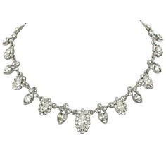 Shimmer Vintage Style Clear Crystal Silver Tone Necklace