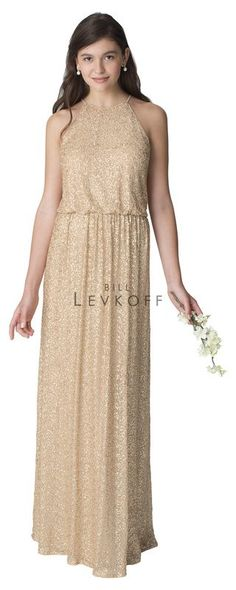 Bill Levkoff Bridesmaid style# 1260. Sequin Net gown halter bodice blouson top with spaghetti straps, A-line skirt with soft gathers. Available in Bridal Collections Spokane, WA