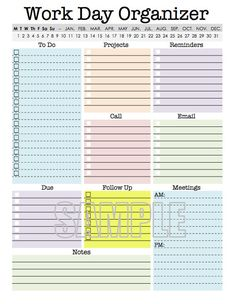 This Work Day Planner printable is designed to help you to stay organized when youre at work!  Just circle the correct date(s) and then fill in the following sections:  - To Do  - Projects  - Reminders  - Call  - Email  - Due  - Follow Up  - Meetings  - Notes  In addition to having a fun, simple, and modern design, I tried to make sure that this organizing worksheet is:  1. User friendly  2. Printable AND *editable  3. Has plenty of space to write if you dont want to type. (Please see the…