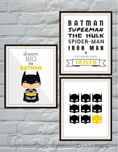 Batman Print Set Batman Wall Art Superhero por belovedboutiquewpg